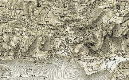 Old map of Balmacara Square in 1908-1909