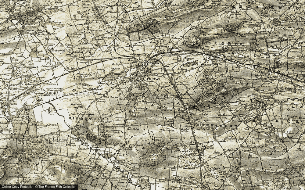 Old Map of Balmashanner, 1907-1908 in 1907-1908