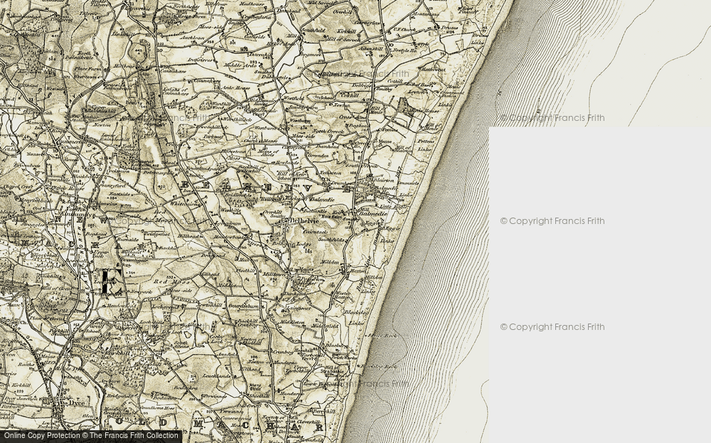 Old Map of Historic Map covering Balmedie Ho in 1909-1910