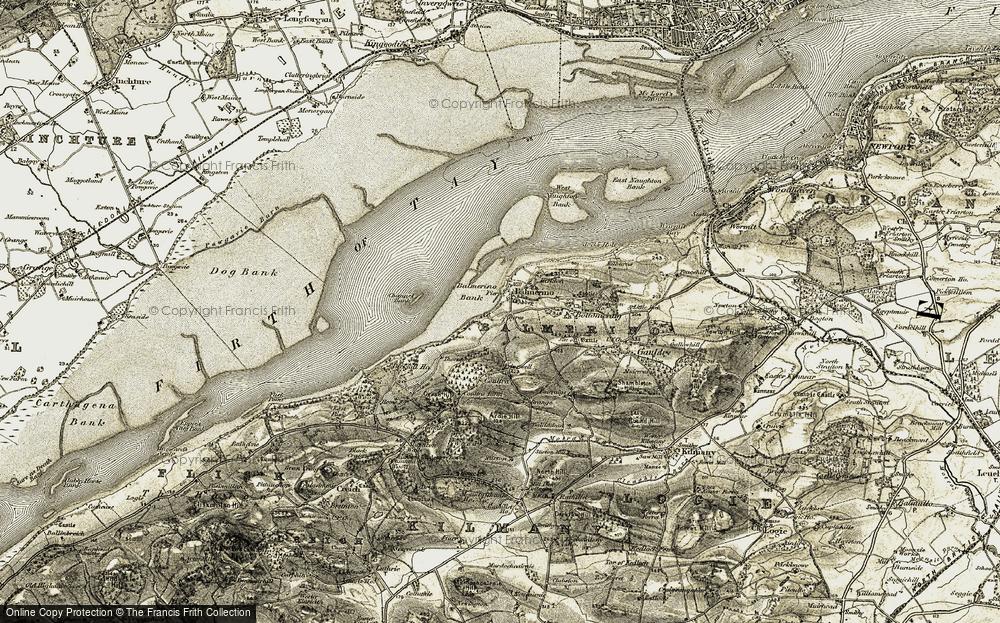Old Map of Balmerino, 1906-1908 in 1906-1908