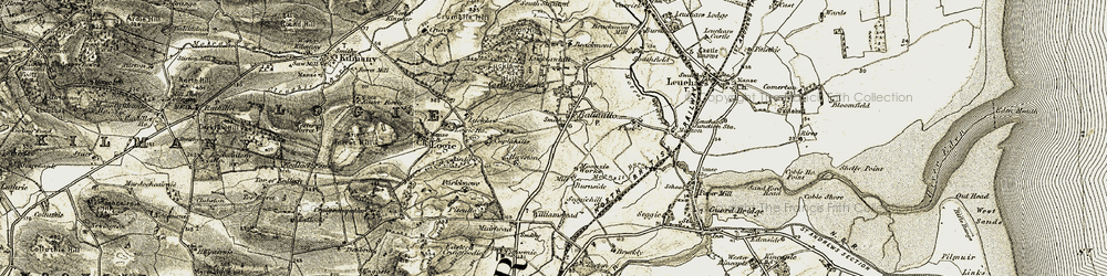 Old map of Balmullo in 1906-1908