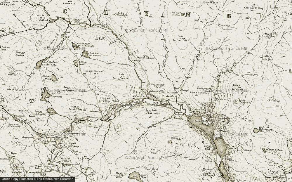 Old Map of Historic Map covering Balnacoil Hill in 1910-1912