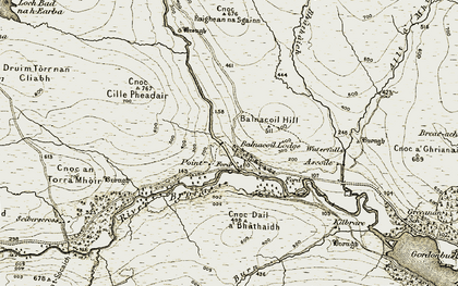 Old map of Balnacoil Lodge in 1910-1912
