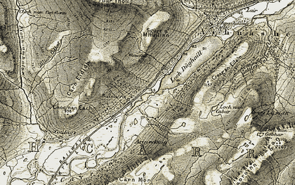 Old map of Balnacra in 1908-1909