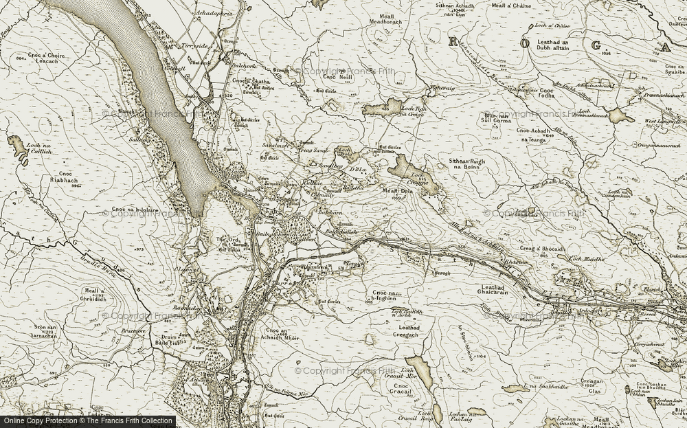 Old Map of Historic Map covering Tomich in 1910-1912