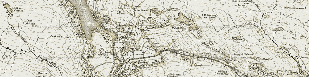 Old map of Tomich in 1910-1912