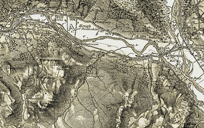 Old map of Balnaguard in 1907-1908