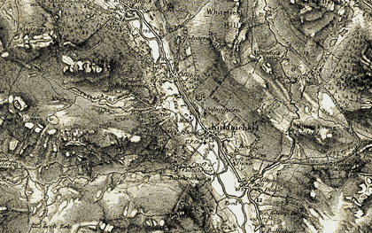 Old map of Allt Cùl na Coille in 1907-1908