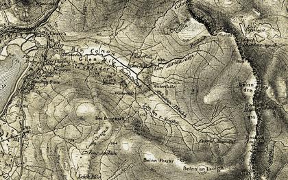 Old map of Balnaknock in 1908-1909