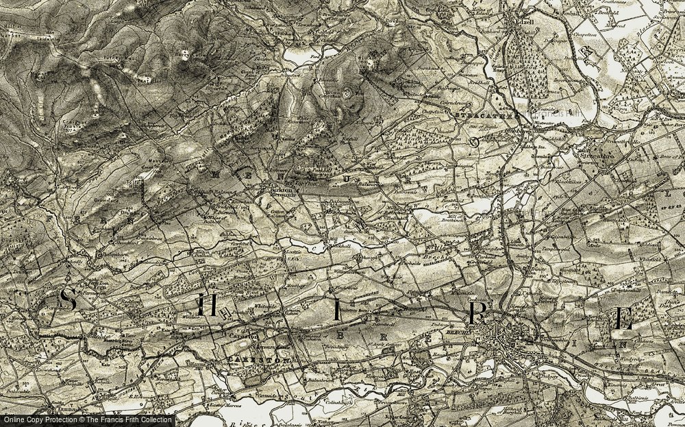 Old Map of Historic Map covering Balrownie in 1907-1908