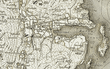 Old map of Baltasound in 1912