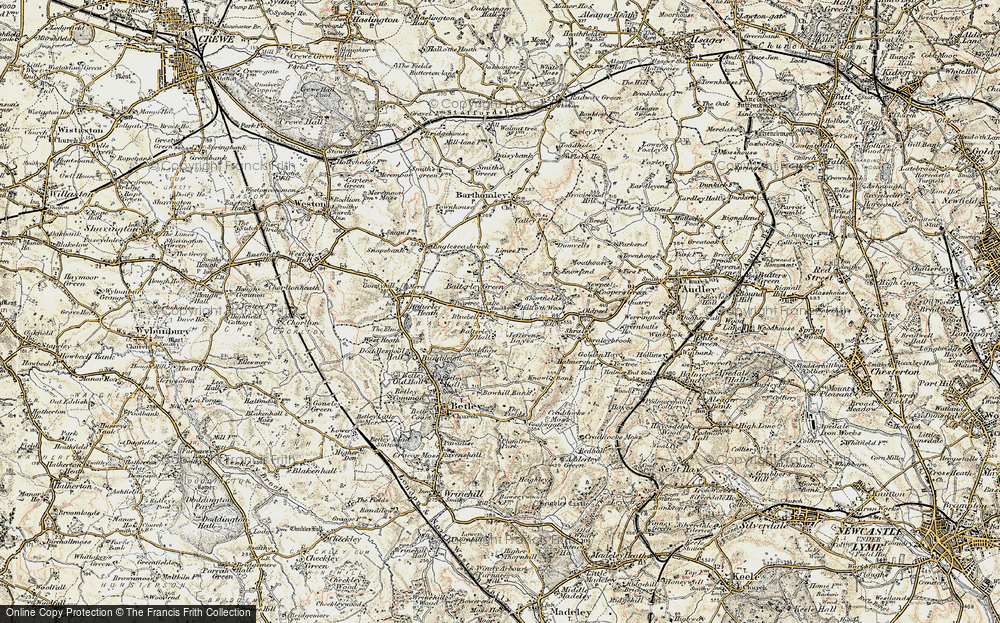 Old Map of Balterley, 1902 in 1902