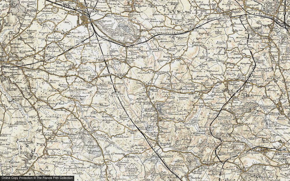 Old Map of Balterley Heath, 1902 in 1902