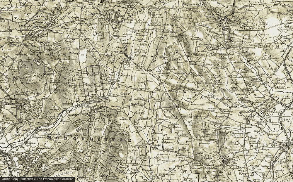 Old Map of Historic Map covering Balthangie Cott in 1909-1910