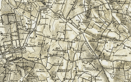 Old map of Balthangie Mains in 1909-1910