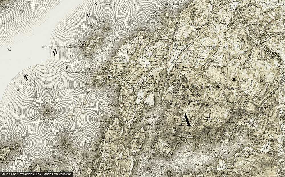 Old Map of Historic Map covering Acha in 1906-1907