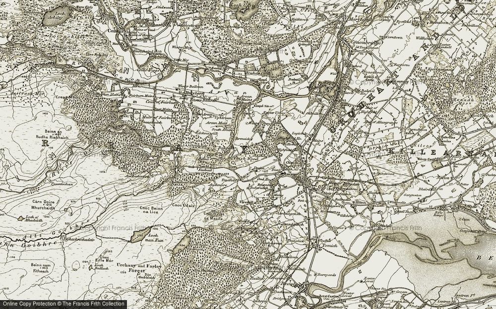 Old Map of Historic Map covering Auchmore in 1912