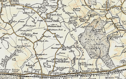 Old map of Bamber's Green in 1898-1899