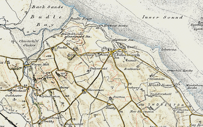 Old map of Bamburgh in 1901-1903