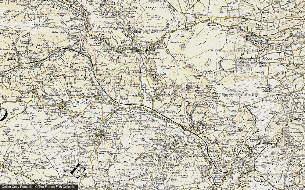 Old Map of Historic Map covering Bamford Moor in 1902-1903