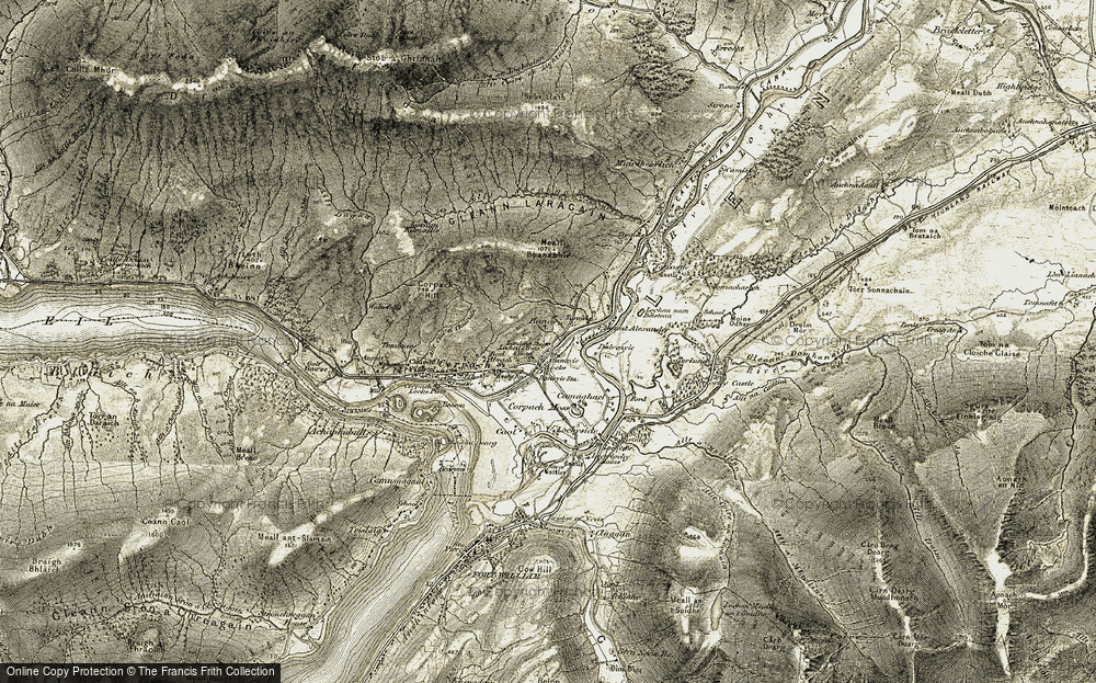 Old Map of Historic Map covering Allt Sheargain in 1906-1908