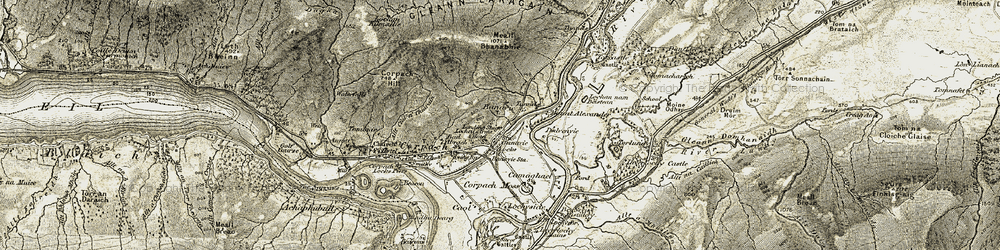 Old map of Allt Sheargain in 1906-1908