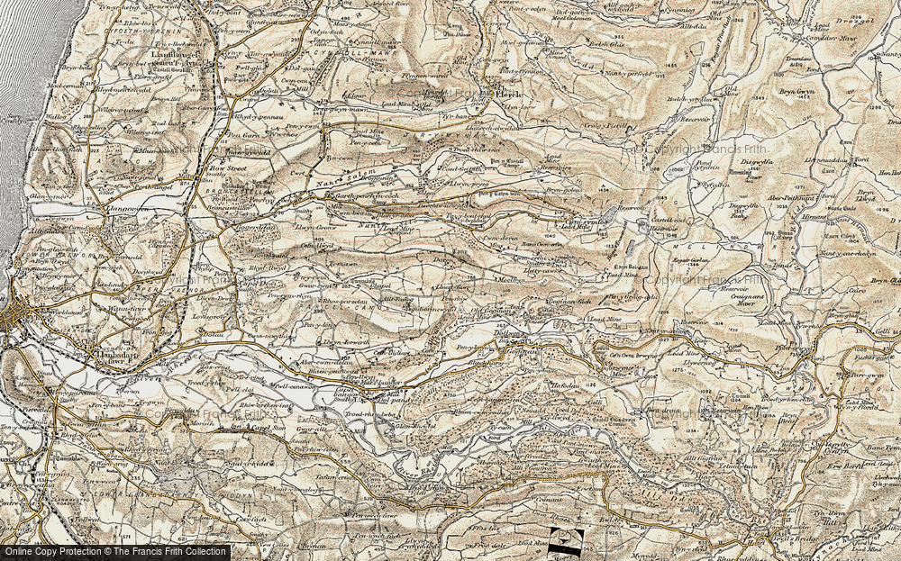 Old Map of Historic Map covering Afon Melindwr in 1901-1903