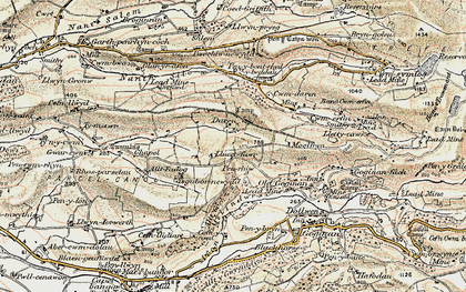 Old map of Afon Melindwr in 1901-1903