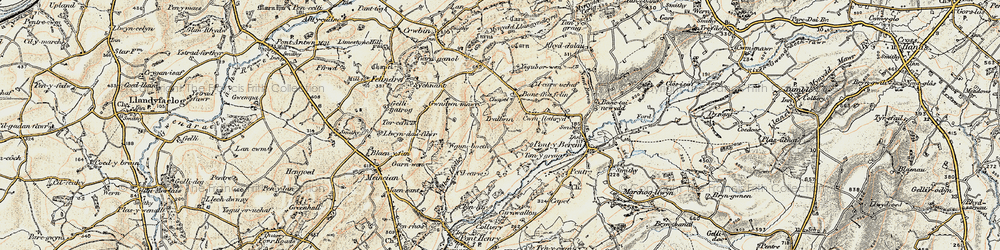 Old map of Aber Lledle in 1901