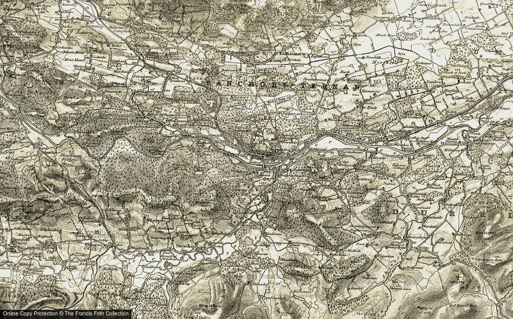 Old Map of Historic Map covering Tillynarb in 1908-1909