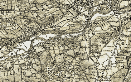 Old map of Tillyhowes in 1908-1909