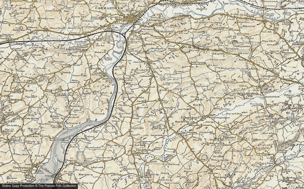 Old Map of Bancycapel, 1901 in 1901