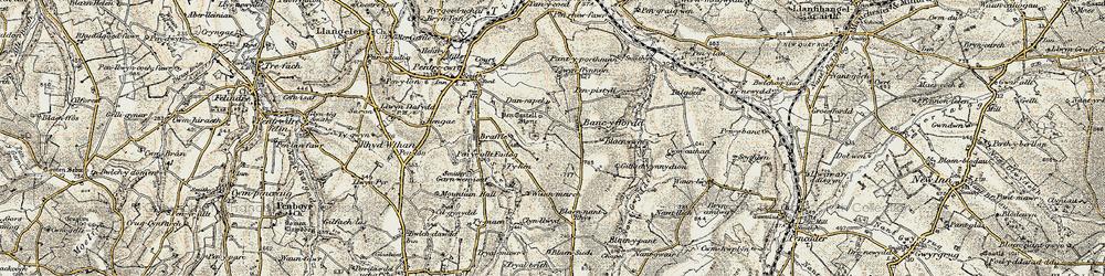 Old map of Afon Tyweli in 1901
