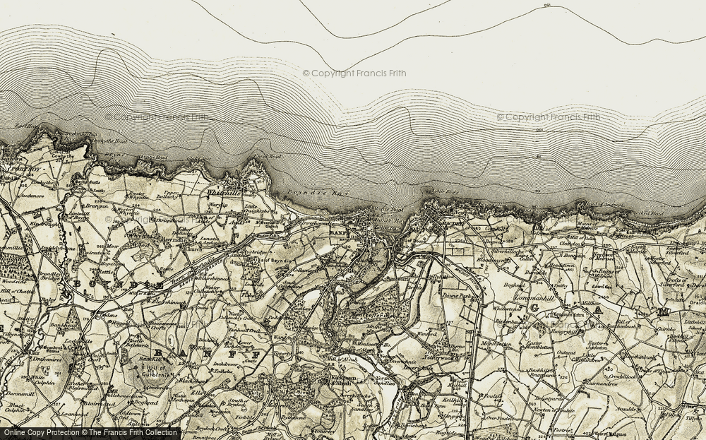 Old Map of Historic Map covering Banff Bay in 1910