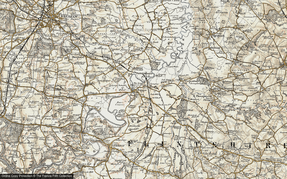 Old Map of Bangor on Dee, 1902 in 1902