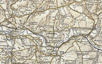 Old map of Bangor Teifi in 1901