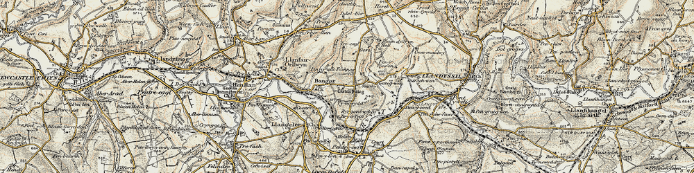 Old map of Aberhoffnant in 1901