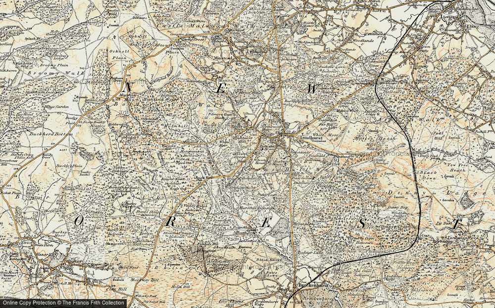 Old Map of Historic Map covering Allum Green in 1897-1909