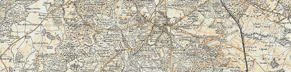 Old map of Allum Green in 1897-1909