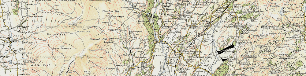 Old map of Thwaite Yeat in 1903-1904