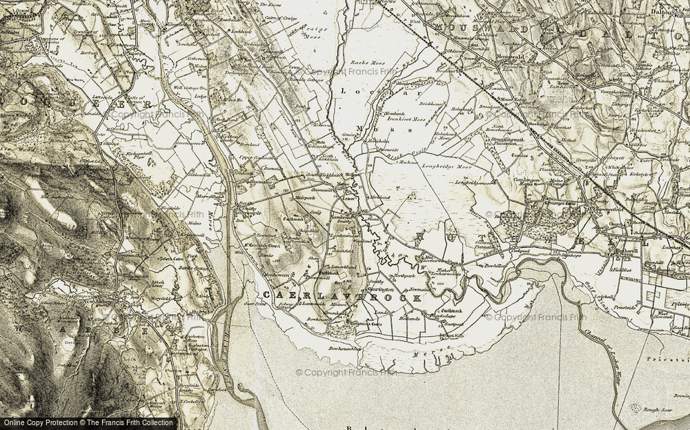 Old Map of Historic Map covering Bankend Hill in 1901-1905