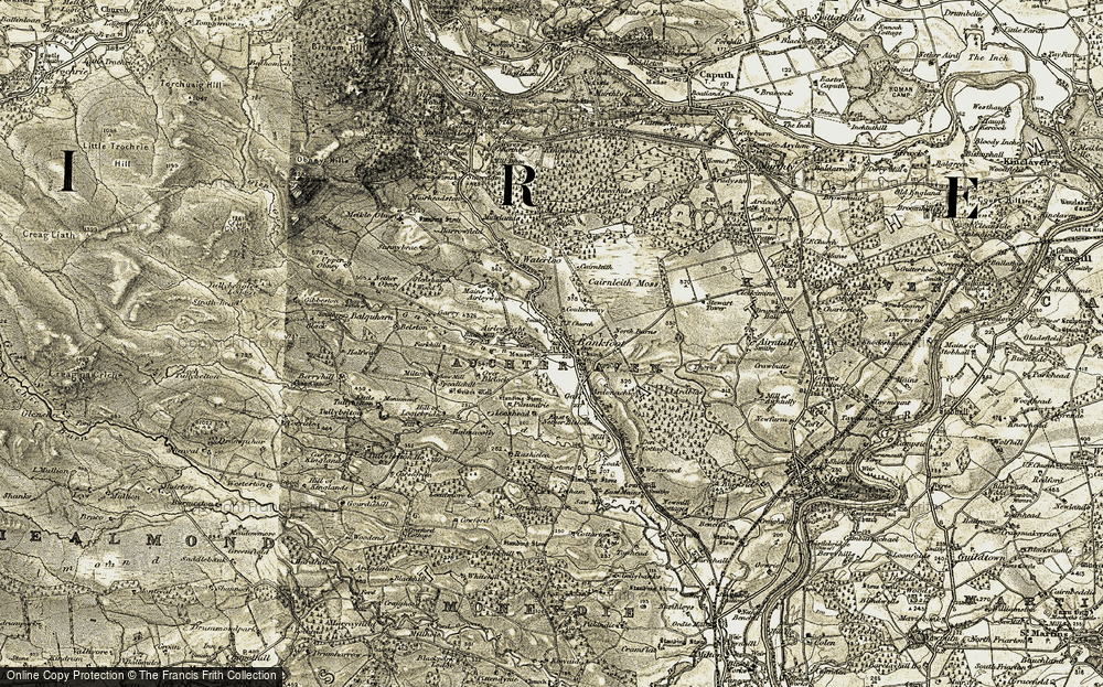 Old Map of Historic Map covering Airleywight in 1907-1908