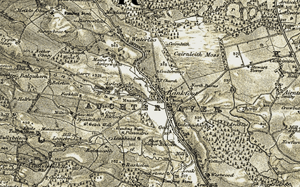 Old map of Bankfoot in 1907-1908