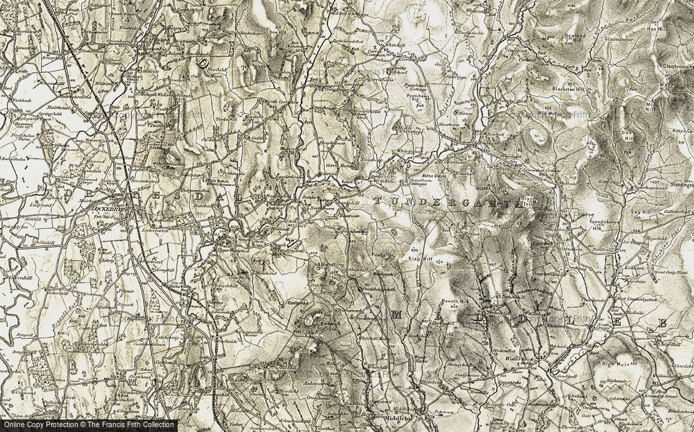 Old Map of Historic Map covering Whitstonehill in 1901-1904
