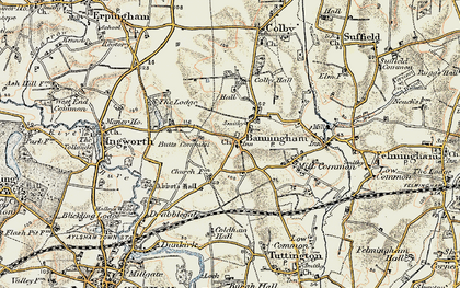 Old map of Banningham in 1901-1902