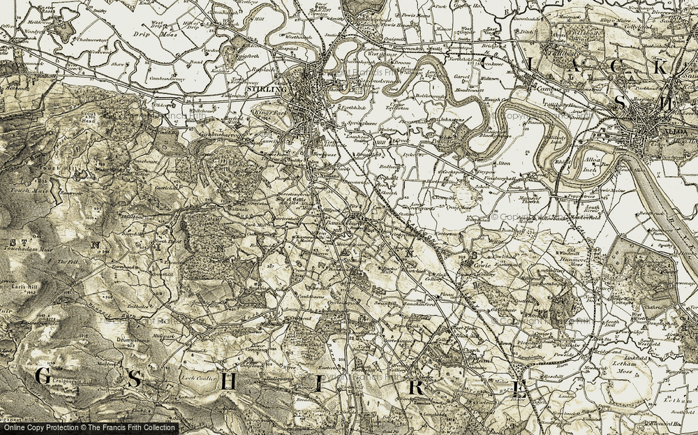 Old Map of Historic Map covering Bannockburn Ho in 1904-1907