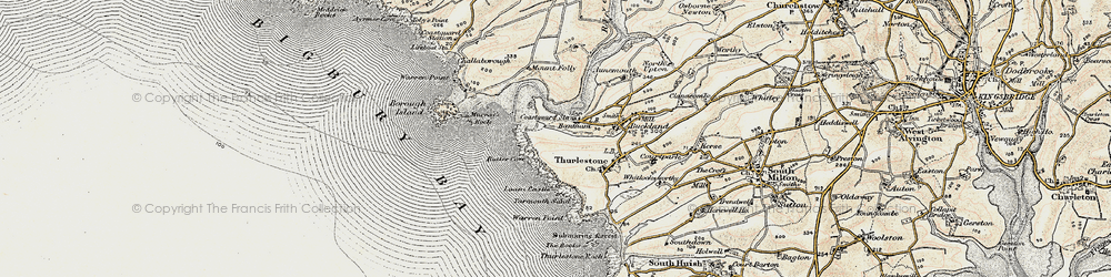 Old map of Bantham in 1899-1900