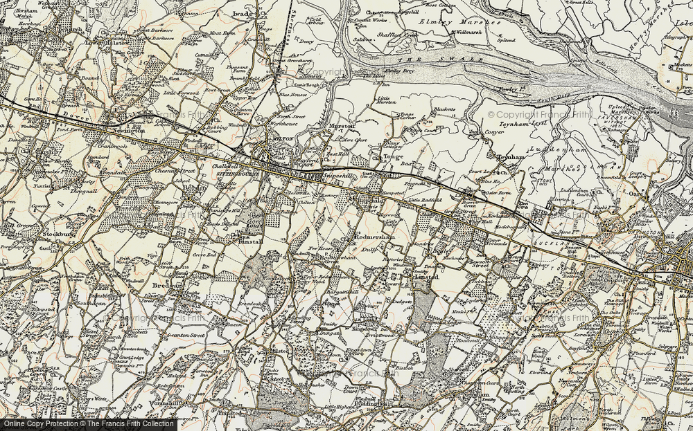Old Map of Bapchild, 1897-1898 in 1897-1898