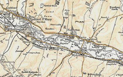 Old map of Bapton in 1897-1899