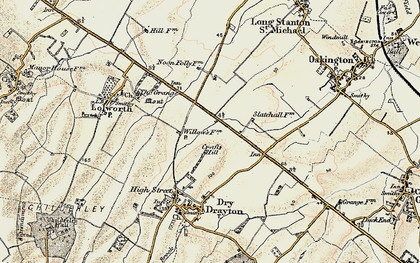 Old map of Bar Hill in 1899-1901
